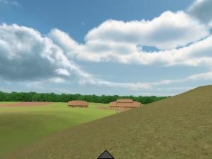 I appen er det mindre vegetasjon enn det er i dag, og i bakgrunnen ligger Borrehallen.