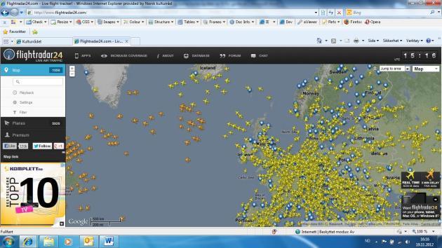 1 Øyeblikksbilde fra fly situasjonen over Europa klokken 15:15 mandag 19/11 -2012 (kilde www.flightradar24.com)
