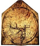 "The Hereford Mappa Mundi, about 1300, Hereford Cathedral, England. A classic ""T-O"" map with Jerusalem at centre, east toward the top, Europe the bottom left and Africa on the right."