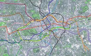 Metrolinjer på kart