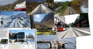Bildekollasje av stillbilder fra slowtv: jernbanespor igjennom snølandskap i nordland, hurigurta med en hale småbåter, Telemarkskanalen, Bybanestopp i Bergen, Holmekollbanen på snøføre