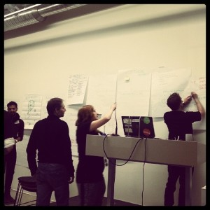 Gode ideer fra idémyldringen fikk stemmer, og 5-6 av dem kan det kanskje bli noe av Vi får se i morgen når #hack4no er over.