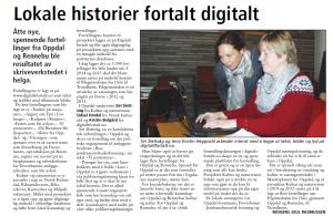 """Avisutklipp fra lokalavis med tittelen: """"lokale historier fortalt digitalt. PÅ bildet ser man en kursholder hjelpe til en deltaker"""