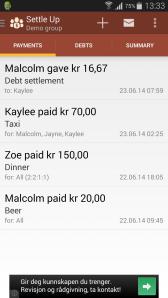Fra en demonstrasjon på Settle up. Det fremgår at utenlandske apputviklere ikke vet allverdens om norske alkoholpriser.